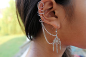 jewels,clothes,earrings,jewelry,dreamcatcher,chain,swirls,silver,summer,feathers,dreamcatcher earrings,earings,ear cuff,earcuff rhinestone