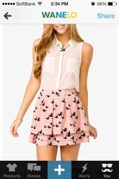 skirt,pink black skirt bird,pink,dove,birds,black,ruffle,layered,skater,cute,make-up,blouse