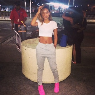 shoes neon pink sneakers sweatpants top india love pants