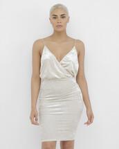 dress,midi dress,beige,beige dress,wrap dress,velvet,velvet dress
