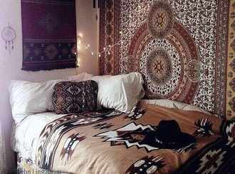 home accessory bedding boho bohemian hippie indie hipster aztec tribal pattern quilt pillow tapestry blanket native american dorm room boehmian hat college home furniture decorative cushions boho bedding home decor living room decoration idea decoration accessory decoration wall tapestry aztec brown blanket tribal throw bedspread bedding