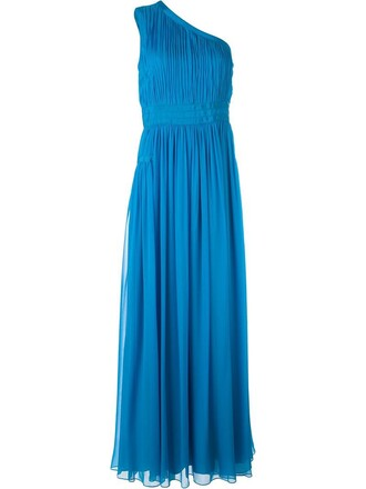 gown pleated blue dress