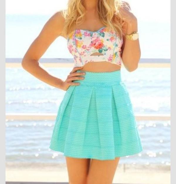 skirt skater skirt crop tops floral turquoise