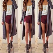 shoes,shirt,shorts,jewels,blouse,long cardigan,necklace,trendy,gorgeous,sweater,tobi,undefined,weed,tank top,long sleeves,clothes,brown,boots,red shorts,maroon/burgundy,cardigan,long,grey,burgundy,scarf,heels,top,cartigan,white top,tumblr outfit fall,tumblr outfit