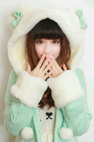 jacket clothes coat pastel kawaii hoodie dress green white winter coat cute teddy bear adorable af girly sweet asian fashion gyaru