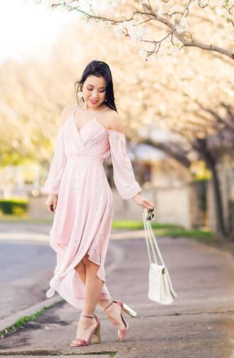 cute & little blogger dress shoes bag jewels sunglasses pink dress sandals high heel sandals cold shoulder dress spring outfits spring dress