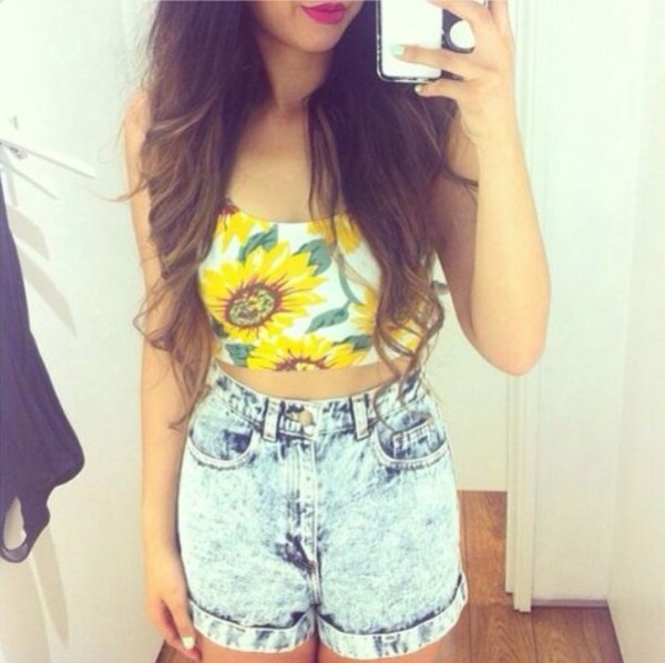 shirt flowers shorts tank top sunflower floral pls van gogh the shorts are pretty cool too other awesome stuff