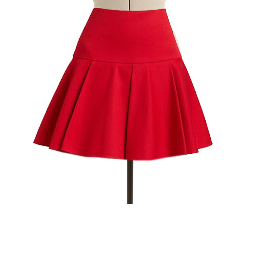 Red Mini Yoke Skirt With Circular Pleats, Custom Fit, Fully Lined, Handmade – Elizabeth's Custom Skirts