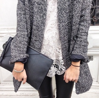 coat zara grey coat bag top leggings leather leggings leather bag handbag black bag lace top white top girly blouse white blouse lace cute white blouse