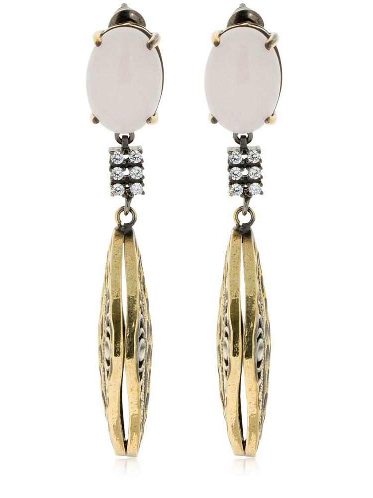IOSSELLIANI Rose Quartz Rhombus Earrings in gold / pink