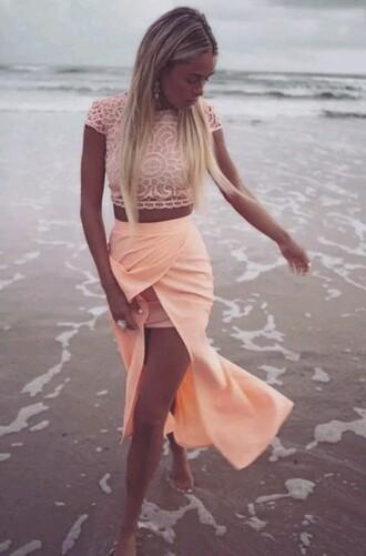 skirt peach beach short long cute girly