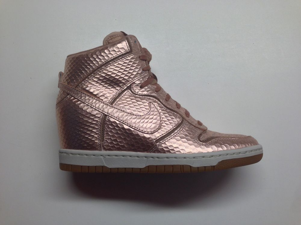 Nike women dunk sky hi cut out prm metallic red bronze sneaker wegde 644411