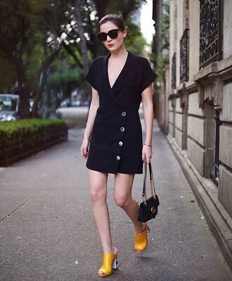 shoes yellow shoes sandals black dress dress bag black bag