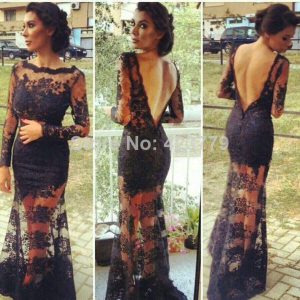 Aliexpress.com : Buy Sexy V shaped Backless Sheer Lace Prom Dresses Floor Length Hot Long Sleeve vestidos de formatura longo 2014 from Reliable sleeve jackets suppliers on 27 Dress