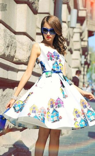 dress white white dress colorful