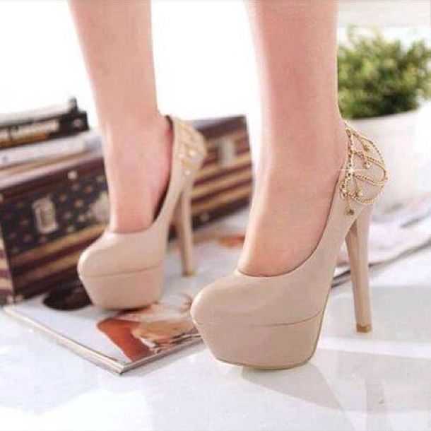 Shoes: pumps, nude pumps, heels, high heels, cute high heels, nude ...