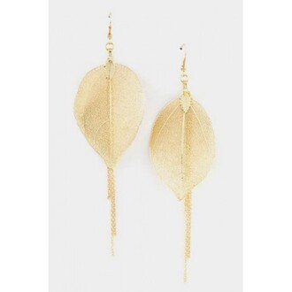 earphones gold leaf earrings
