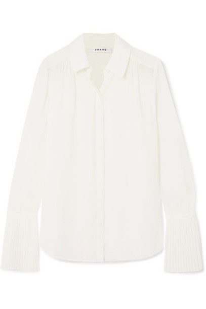 shirt pleated white off-white top