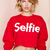 Red Selfie Print Crop Sweatshirt - Sheinside.com