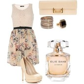 dress,floral,skaterdress,elie saab,high heels,clutch,beige,ring,parfume,black,cute,jeans,shoes