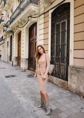 kenza,blogger,dress,shoes,bag,ankle boots,nude dress,fall outfits
