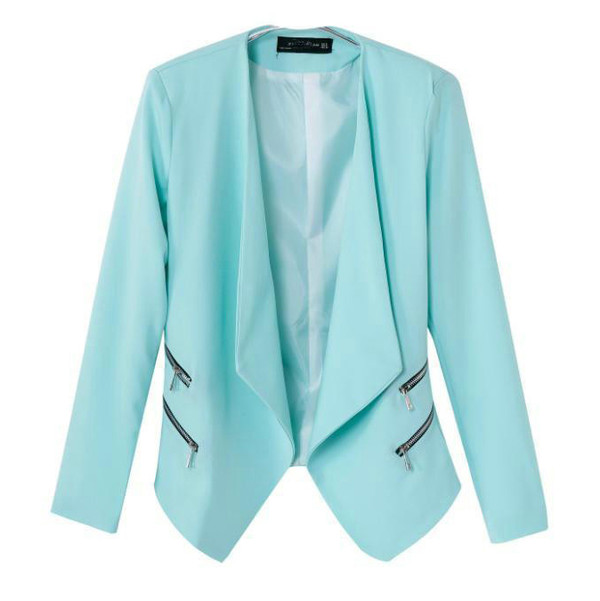 jacket sky blue office outfits zippers jacket non button