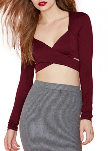 Wine Red V Neck Long Sleeve Crop - USD $27.39