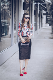 thestyledfox,blogger,shirt,skirt,shoes,sunglasses,bag,jewels,clutch,plaid shirt,animal print bag,red heels,high heel pumps