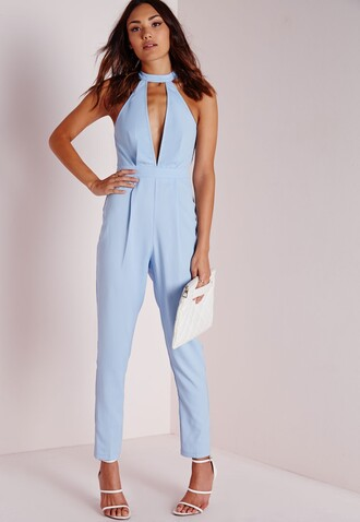 jumpsuit baby blue choker necklace plunge v neck