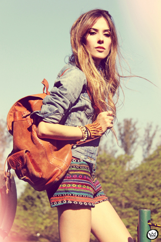 shorts boho style colors navajo boho bohemian bag jacket jewels leather backpack