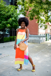 dress,midi dress,tumblr,halter neck,halter neck dress,bag,round bag,sandals,colorful,multicolor,jewels,shoes