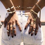 jewels,gold,silver ring,gold ring,silver,bracelets,ring,mary jane,gold bracelet,shorts,dope wishlist,summer accessories,polyvore,body chain,wristlet,knuckle ring,jewelry,hand jewelry,accessories,hippie,boho aztec hippie,stacked bracelets,bag