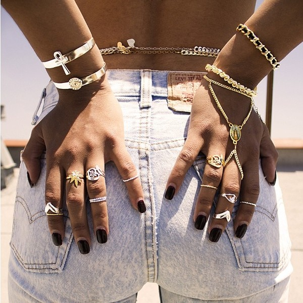 jewels gold silver ring gold ring silver bracelets ring mary jane gold bracelet shorts dope wishlist summer accessories polyvore ring body chain wristlet knuckle ring jewelry hand jewelry accessories hippie boho aztec hippie stacked bracelets bag