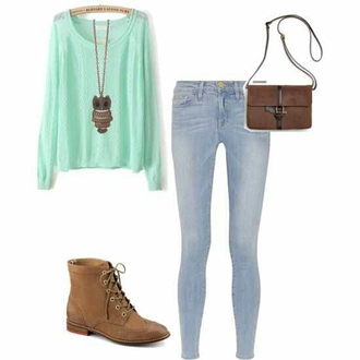 pants sweater shirt blue brown bag owl necklace jeans combat boots mint top t-shirt blouse jewels shoes fall outfits