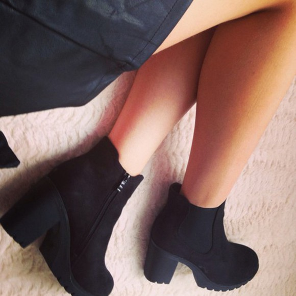 boots high heels suede chelsea boots