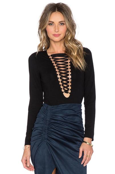 Bardot bodysuit tie front black