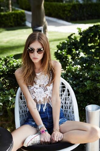 the blonde salad blogger top shorts sunglasses shoes festival boho lace crochet sleeveless white