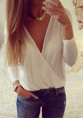 Mesh Shell V Neck Shirt - White - Top