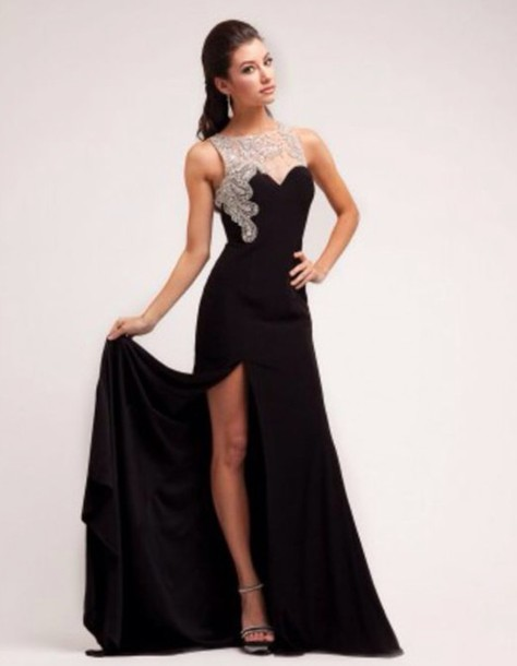 Dress: cream, prom dress, prom, black - Wheretoget