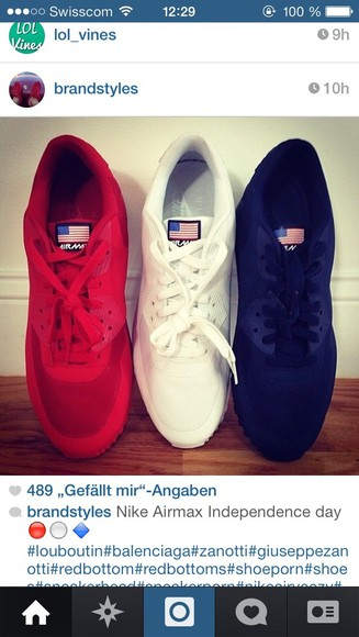 shoes red white black