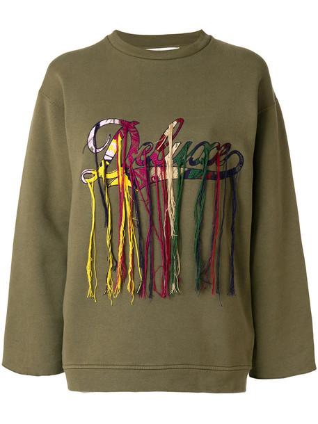 Golden Goose Deluxe Brand - embroidered logo sweatshirt - women - Cotton - XS, Green, Cotton