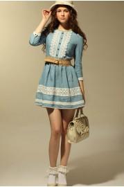 Retro spring lacy jean dress with medium