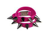 jewels,neon pink,leather wrap bracelets,leather wrap bracelet,silver spikes