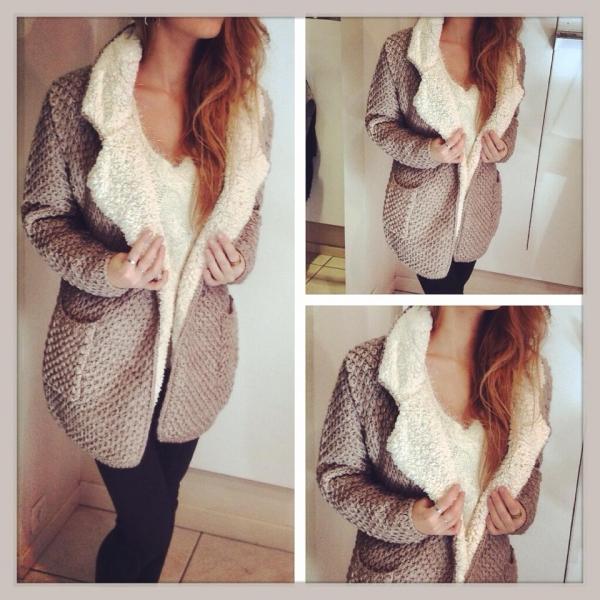 Manteau laine et fourrure