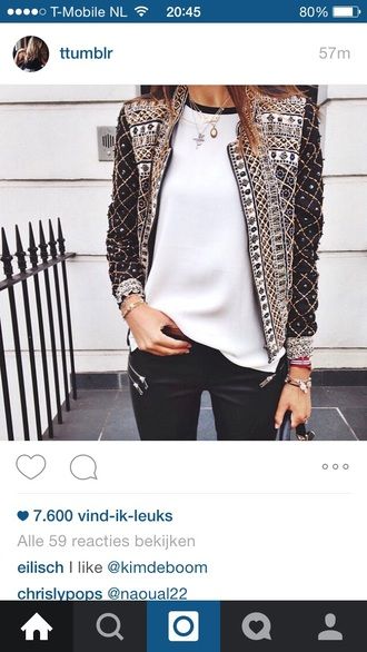 jacket love studs back white black fashion