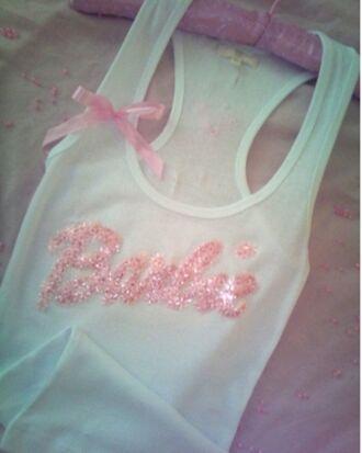 tumblr pink white glitter t-shirt top barbie strass lace princess soft grunge tank top shirt barbie shirt bows white t-shirt