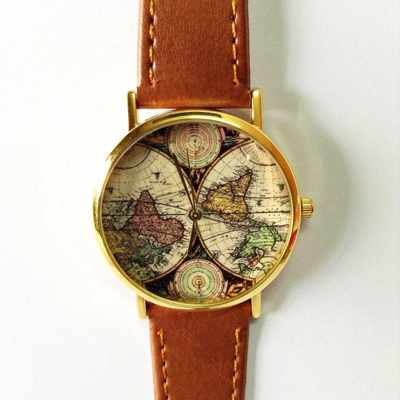 Map Watch, Vintage Style Leather Watch, Women Watches, Boyfriend Watch, World Map, Men's Watch, Silver and Gold Case