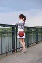 kapuczina,blogger,skirt,blouse,shoes,sunglasses,bag