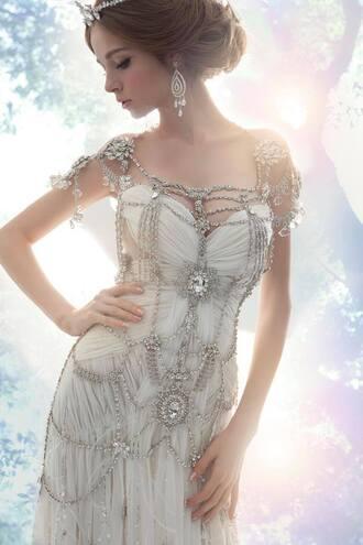 dress white dress wedding clothes wedding dress steampunk jewels fancy dress pearl
