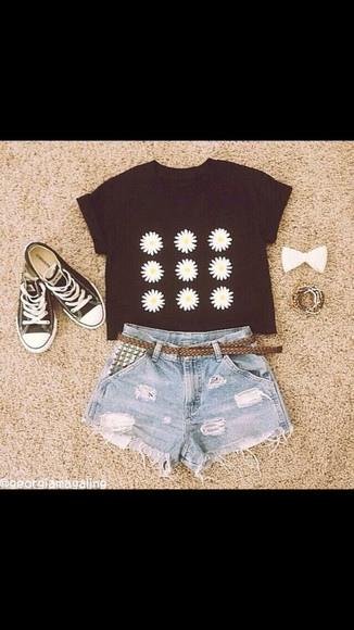 pattern t-shirt daisies top